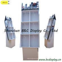 Affichages en carton de plancher avec des crochets, affichage réutilisable adapté aux besoins du client le plus récent de carton de bruit avec des crochets (B et C-B035)