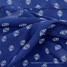 Синяя дешевая ткань из 100% вискозы с принтом для платьев