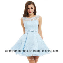 Vestidos Homecoming Scoop mangas A linha Ruched Lace Prom Dress
