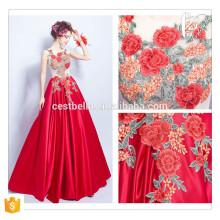 Hot Saller !!! Schicke lange rote Blumen elegante Partei-Abschlussball-Kleid-Frauen-Großverkauf formales rotes langes Abend-Kleid 2016