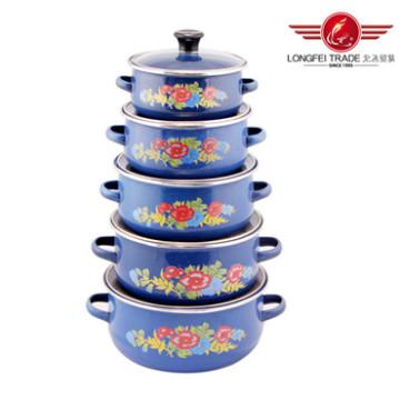 5PCS Enamel Casserole Pot with Decal