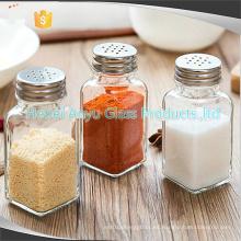 Botella de vidrio para sal pimienta condimento especias, coctelera sal pimienta barbacoa condimento botellas