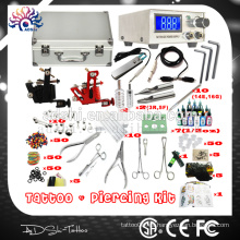 Portátil y profesional profesional Piercing kit de la máquina del tatuaje y piercing pistola y joyas kit de herramientas