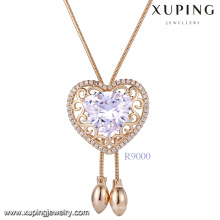 Xuping women heart shaped gold necklace online China,18k new fashion imitation jewellery diamond stone pendant necklace
