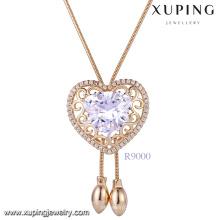 Xuping mulheres coração em forma de colar de ouro em linha China, 18k nova moda imitação de jóias em diamantes colar de pingente de pedra