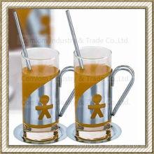 Conjunto de xícaras de café de vidro de aço inoxidável