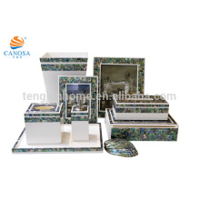 8pcs Luxuxblaue Farbe Paua Shell Badezimmer-Zusatz-Sätze