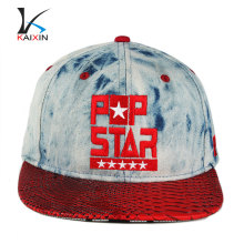 Wholesale flat brim custom-made snapback floral fabric galaxy design your own custom plain blank snakeskin snapback 6 panel cap