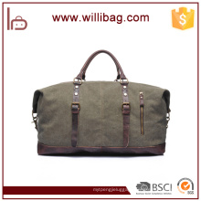 Hot Sale Vintage Genuine Leather Canvas Duffel Bags (Small Size)