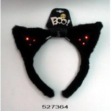 Opaska uszy z czarnego kota z lampkami