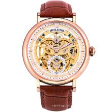 Reloj mecánico automático de los hombres Reloj de cuero de zafiro del acero inoxidable Reloj de lujo especial del eslabón grande de lujo de Mannen