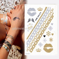 B2B marketplace best selling gold and silver metallic body tattoo sticker
