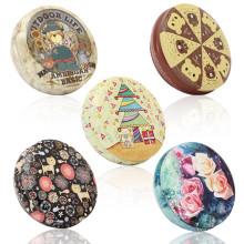 FQ marca redonda caja de metal de regalo de dulces de galletas de almacenamiento pequeño