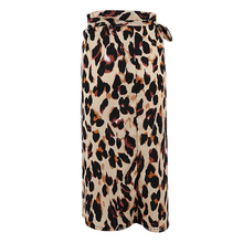 The new 2020 ladies European sexy wild leopard bow bandage leopard grain of tall waist split skirts