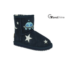Kid's Cow Suede Niedrige Stiefel mit bedruckten Sternen