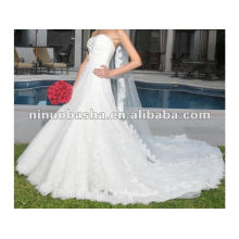 NW-224 Ruffle bust sweetheart neckline with elegant sash on waist lace on top stunning wedding dress
