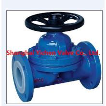 Válvula de diafragma tipo Weir forrada de PTFE de DuPont (G41F)