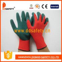 Nylon rojo con guante de nitrilo verde-Dnn453