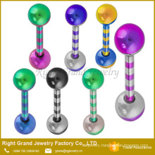 Customized Fashion Surgical Stainless Steel Stripe Anodized Tongue Rings