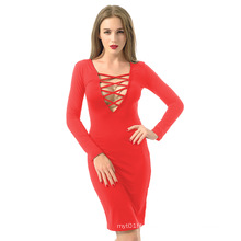 2016 Long Sleeve Knee Length Open Breast Women Sexy Bandage Dress