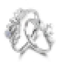 Hermoso anillo de amantes de plata esterlina