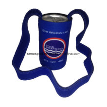 Promotional Wetsuit Material Neoprene Can Cooler with Lanyard (SNCC44)