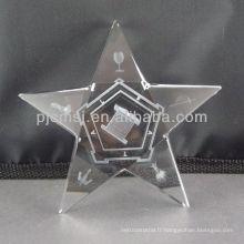 2015 en gros personnalisé Crystal Star avec gravure au laser 3D