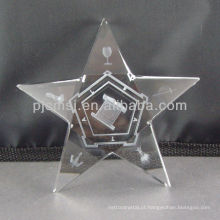 2015 atacado personalizado estrela de cristal com gravação a laser 3D