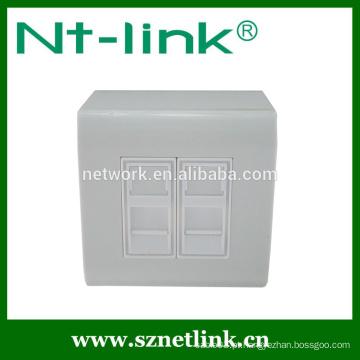 Placa de face rj45 de porta dupla de alta qualidade com caixa inferior, apropriada para jack de módulo keystone rj45