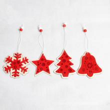 Nouvelle décoration de Noël populaire en bois décoration en bois rouge petite pendaison