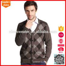 El suéter de cachemira mongol más nuevo de la rebeca del diseño del intarsia del diseño para los hombres