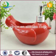 Pássaro de cerâmica vermelha de decoração decorativo loção Dispenser