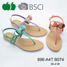 Fashion Flat Summer Nice Design Ladies Sandals With Bowknot