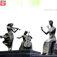 2016 Nouvelle sculpture en bronze pour jardin Le thème de la musique