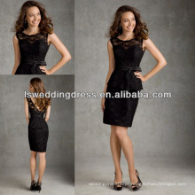 HB2041 Modestais cristais de renda salloped vestidos de dama de honra preta com mangas