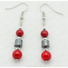 Red Coral Round Beads Hematite Earring