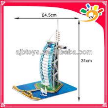 37 Pieces Small 3D Paper Funny Puzzle Burj Al Arab Jigsaws Puzzle