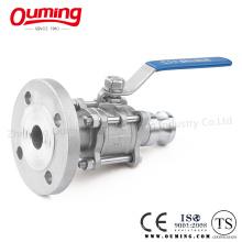 Válvula de bola de acero inoxidable con brida Acoplamiento rápido (OEM)