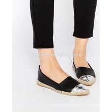 Chic pointed toe espadrilles black laser cut leather-look shoe women woven-style jute sole 2016