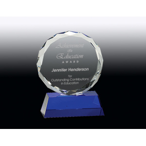 Flower award crystal blue base