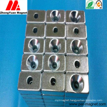 Competitive Permanent Block NdFeB Neodymium Magnet with Countersunk Hole