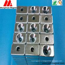 Конкурентоспособный неодимовый магнит постоянного блока NdFeB с зенковкой
