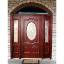 Puerta de entrada / exterior maciza de caoba 40010