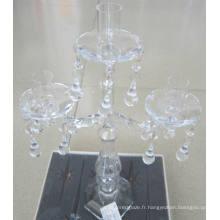 Bougeoir en verre clair pour décoration de mariage avec trois affiches,