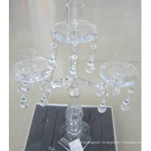 Clear Glass Candle Holder for Wedding Decoration with Three Posters,