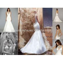 Sexy Jeweled O-Cuello Backless Satén largo vestido de boda de la sirena 2014 Famoso Diseñador de vestido nupcial hecho en China NB0667