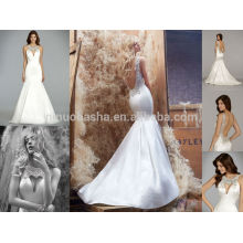 Sexy Jeweled O-Neck Backless Long Satin Mermaid Wedding Dress 2014 Famoso Designer Bridal Gown Made In China NB0667