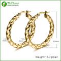 Rolled 24k gold plate Twist Roud Hoop Earring