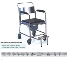 stainless Steel Frame Commode Chair with Footest