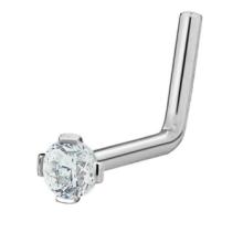 20G Chirurgischer Stahl 2 mm kubischer Zirkonia Kristall L-förmiger Nasenring